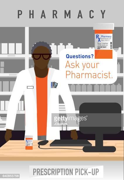 ilustrações de stock, clip art, desenhos animados e ícones de modern african american male pharmacist - african american ethnicity
