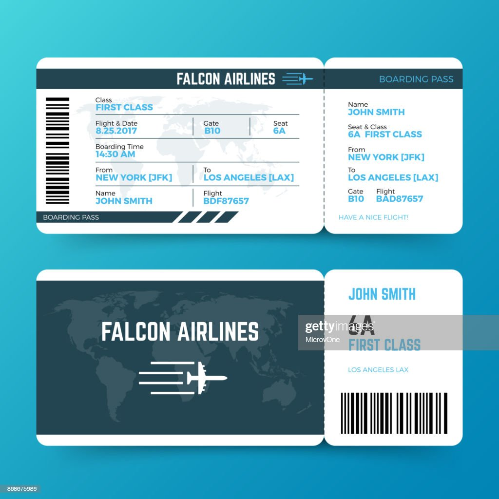 Modern airline travel boarding pass ticket vector template