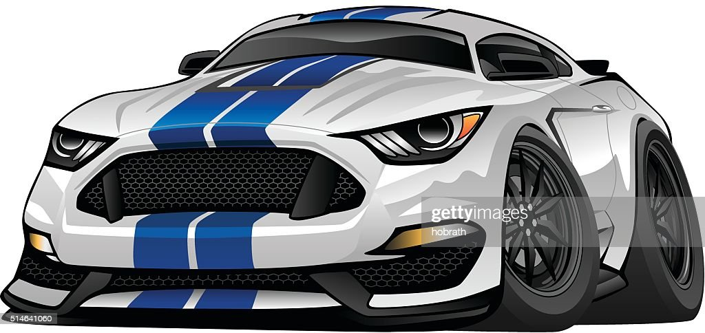 Modern American Muscle Car Cartoon Illustration Vector Art Getty