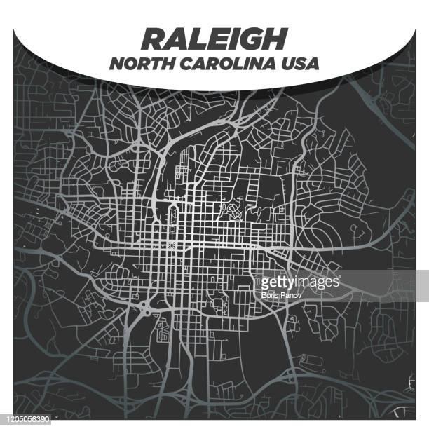 モダンでエレガントなシルバーシティストリート地図 ローリーノースカロライナ州ダウンタウン - ノースカロライナ州ローリー点のイラスト素材/クリップアート素材/マンガ素材/アイコン素材