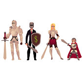 Modern and medieval armored knight characters holding swards, shields
