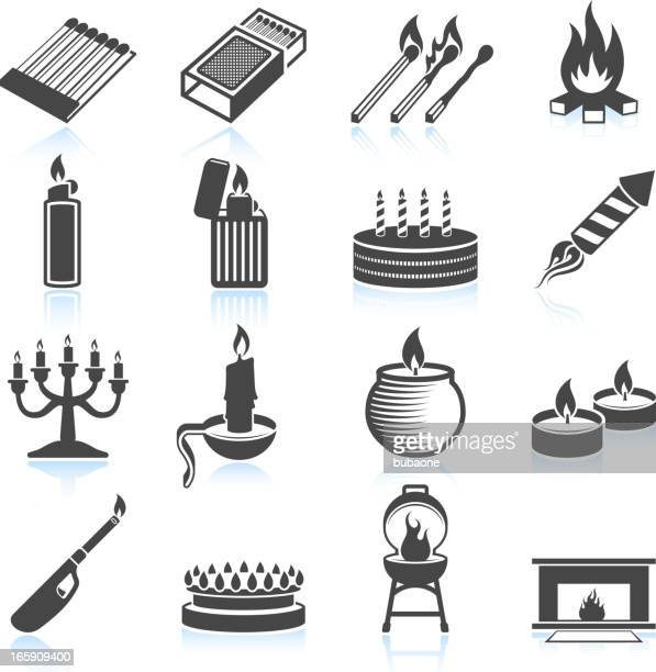 modern and old usage for fire black & white icons - arugula stock illustrations, clip art, cartoons, & icons