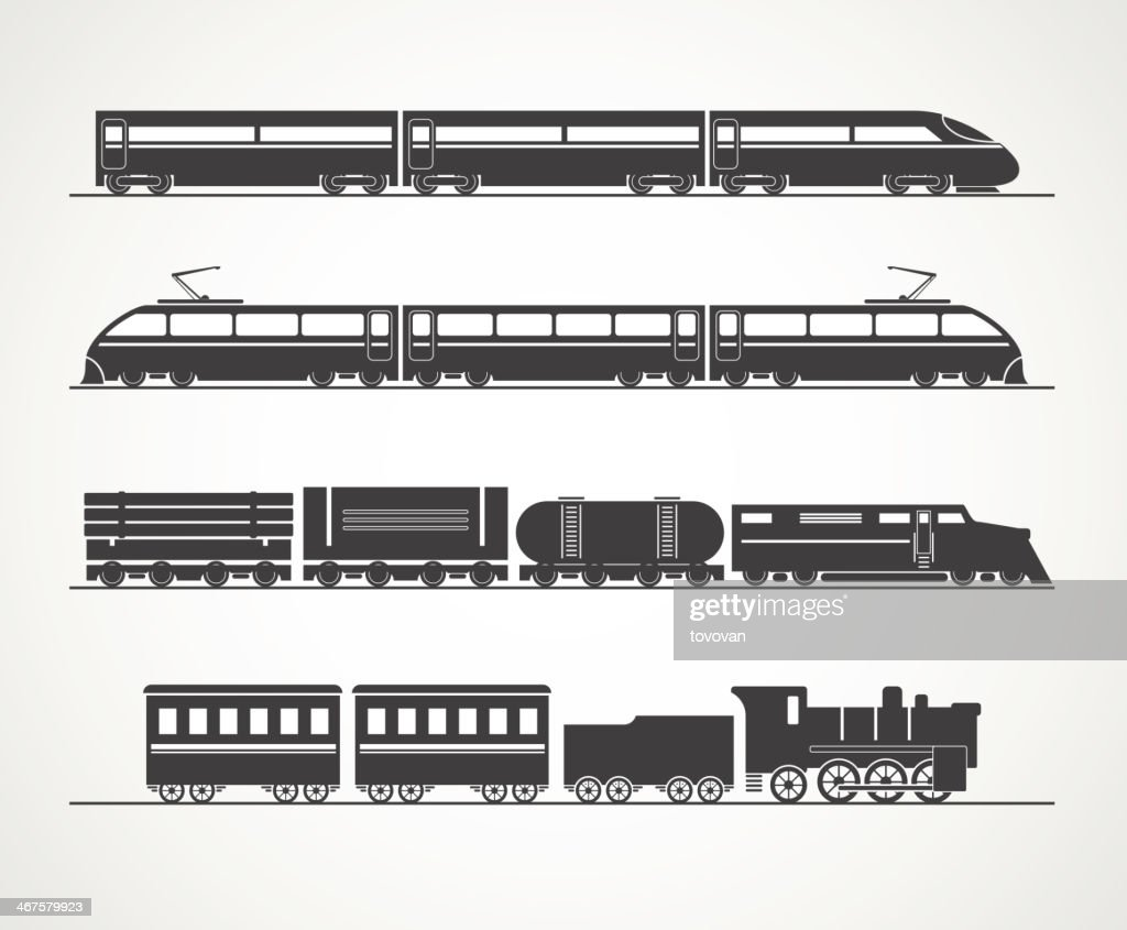 Modern and vintage train silhouette