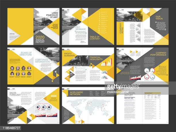 modern annual report layout design - report document stock illustrations