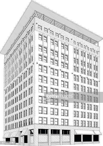 modern apartment building in a city - corner of building stock illustrations, clip art, cartoons, & icons