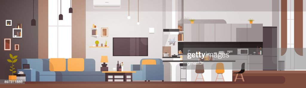 Modern Apartment Interior With Living Room And Kitchen Horizontal Banner