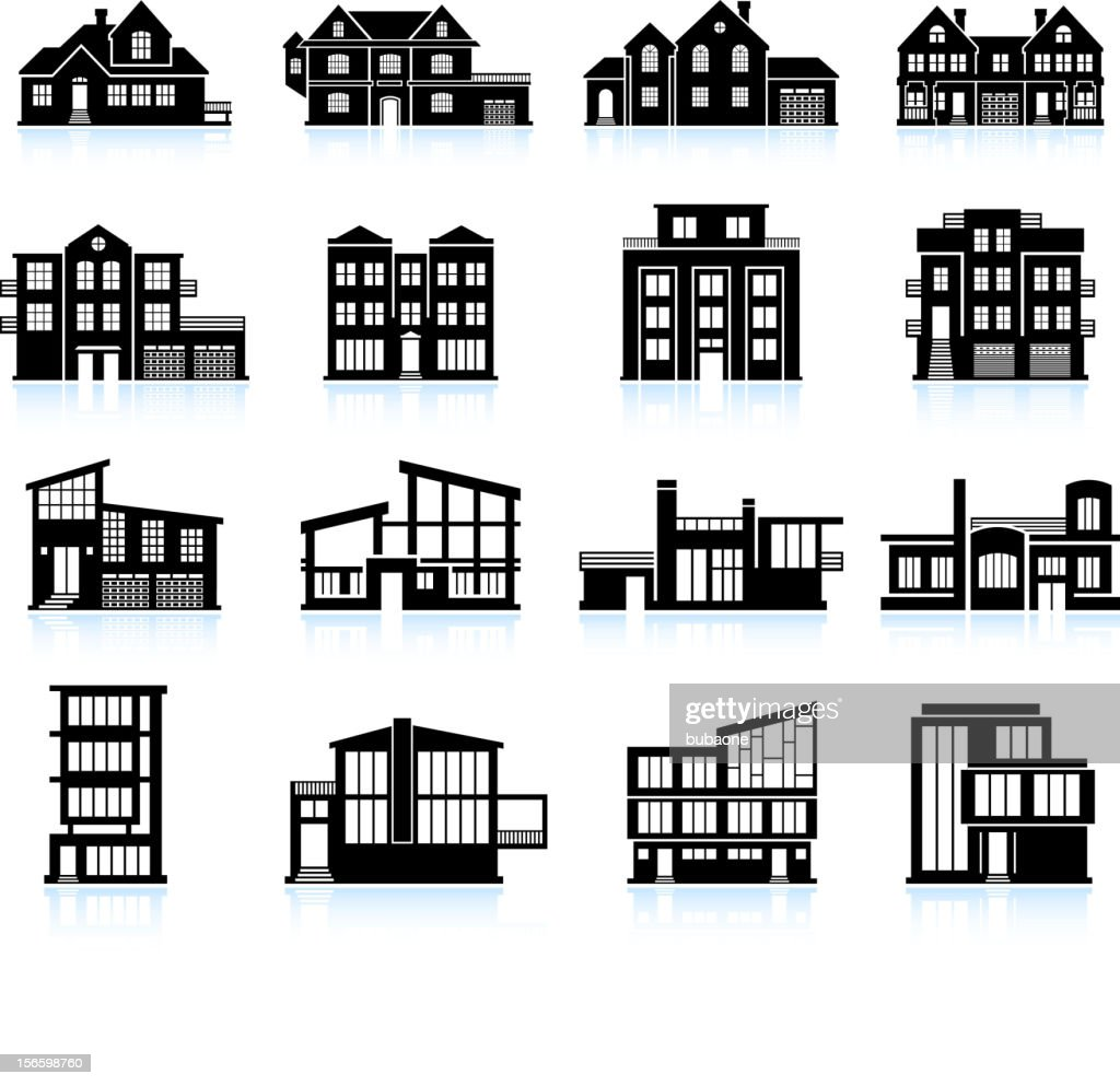 Modern architecture and luxury home black & white icon set