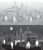 Modern architecture. Entrance to the underpass. Futuristic urban illustration. People walking. Airplane fly. White and gray lines, vector design art