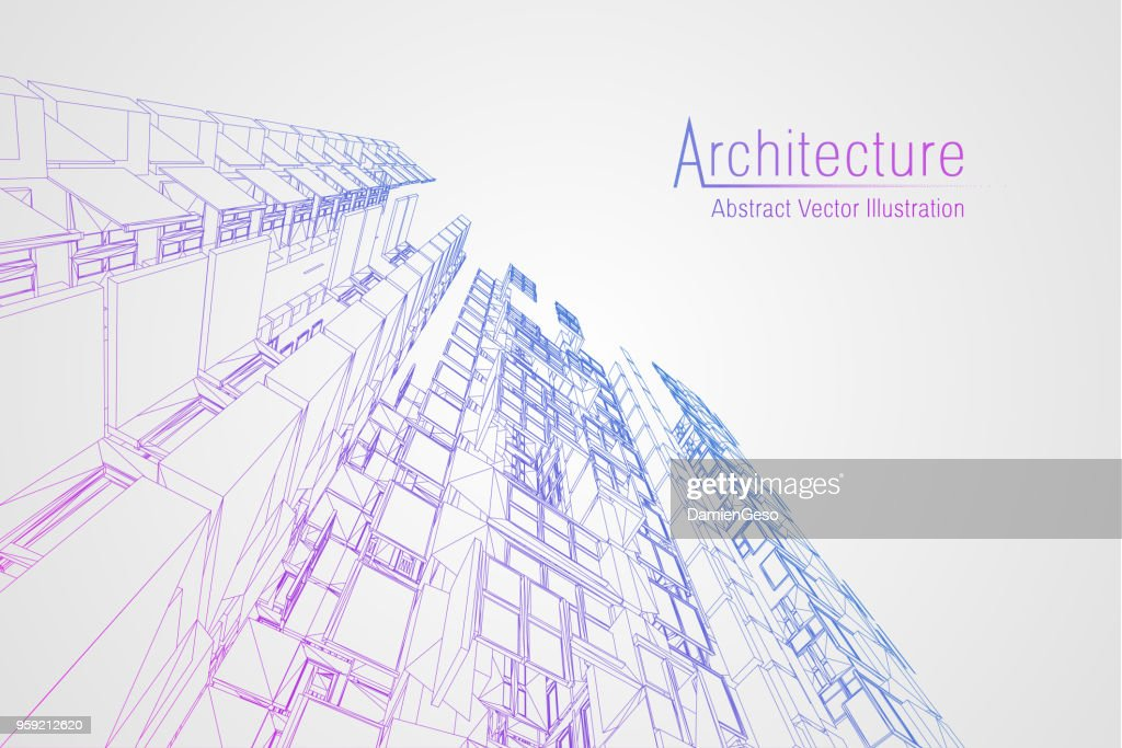 Modern architecture wireframe. Concept of urban wireframe. Wireframe building illustration of architecture CAD drawing