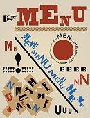 modern art restaurant menu, vector