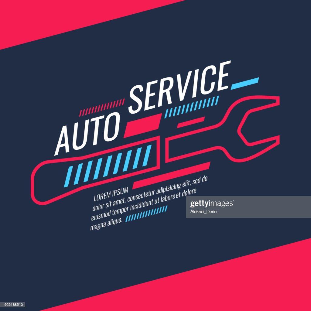 Modern auto service poster. Vector illustration