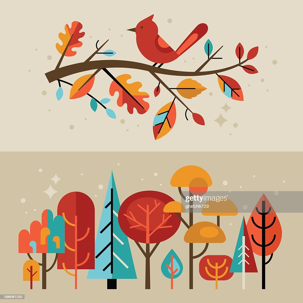 Modern autumn banners with fall leaves and trees for graphic