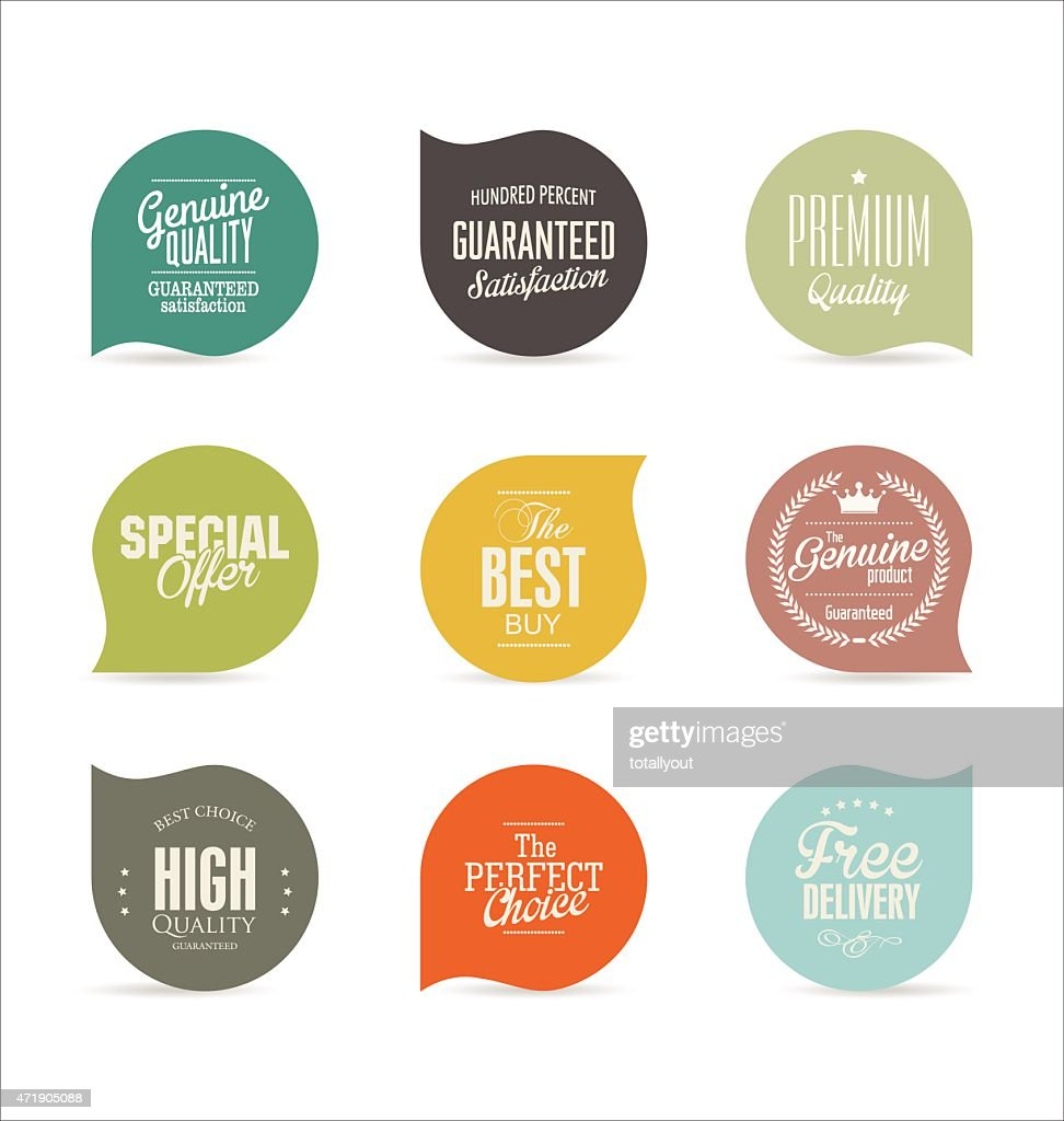 Modern badges collection on a white background