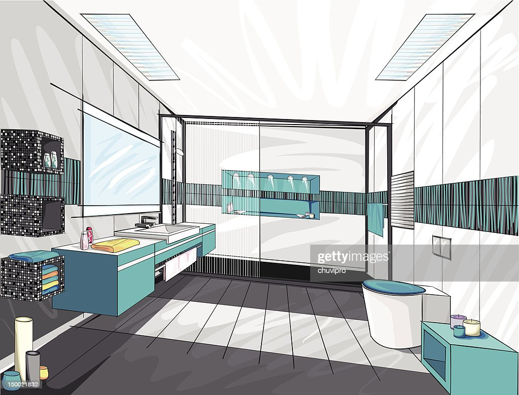 Modern bathroom. : Stock Illustration