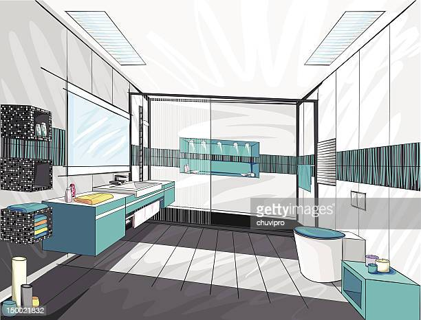 modern bathroom. - bathroom stock illustrations, clip art, cartoons, & icons
