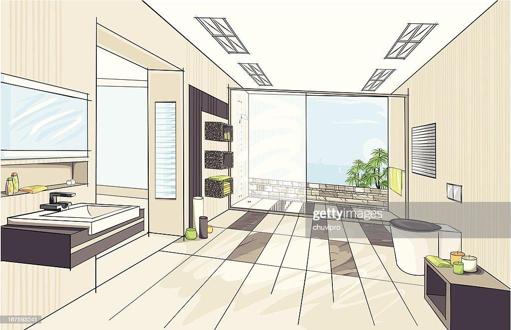 Modern bathroom : stock illustration