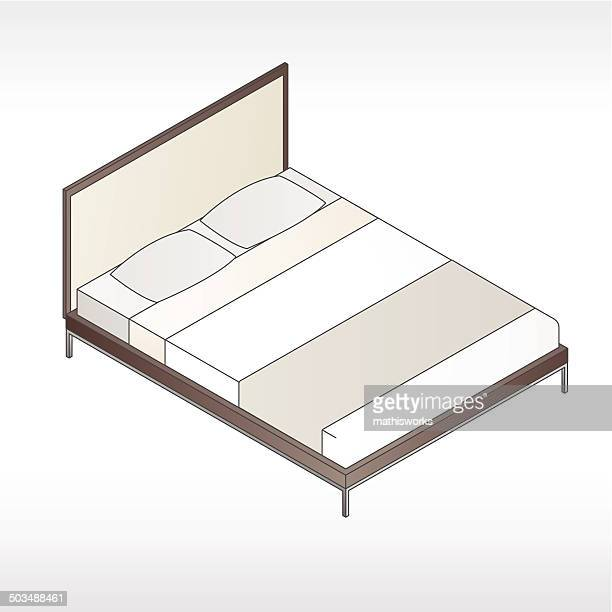 Modern Bed With Headboard Illustration