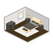 Modern bedroom isometry vector