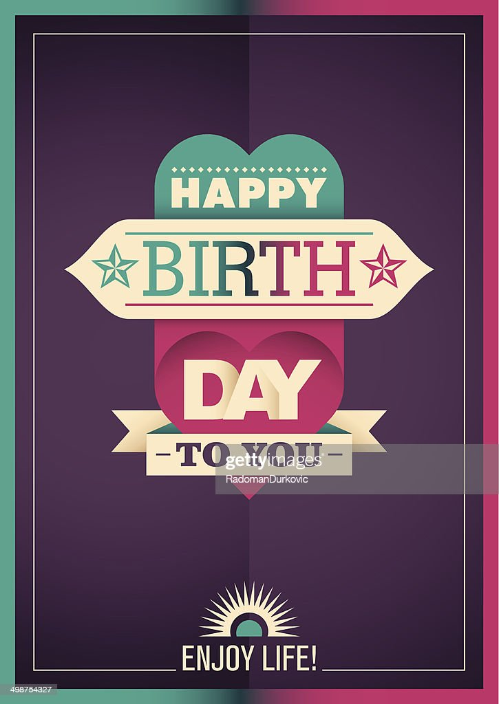 Modern Birthday Card Design In Color Vector Art Getty Images