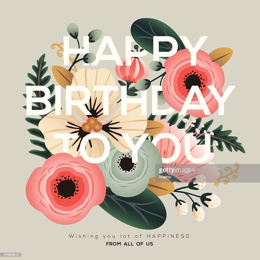 modern birthday floral card