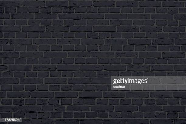 modern black colored brick pattern wall texture grunge background vector illustration - fortified wall stock illustrations