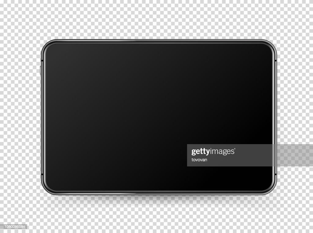 Modern black tablet pc with blank screen. Vector object isolated on transparent background