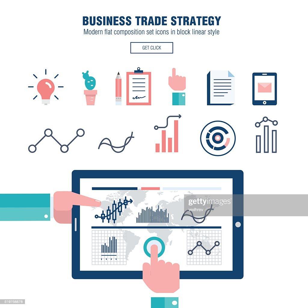 Modern block line flat business trade strategy