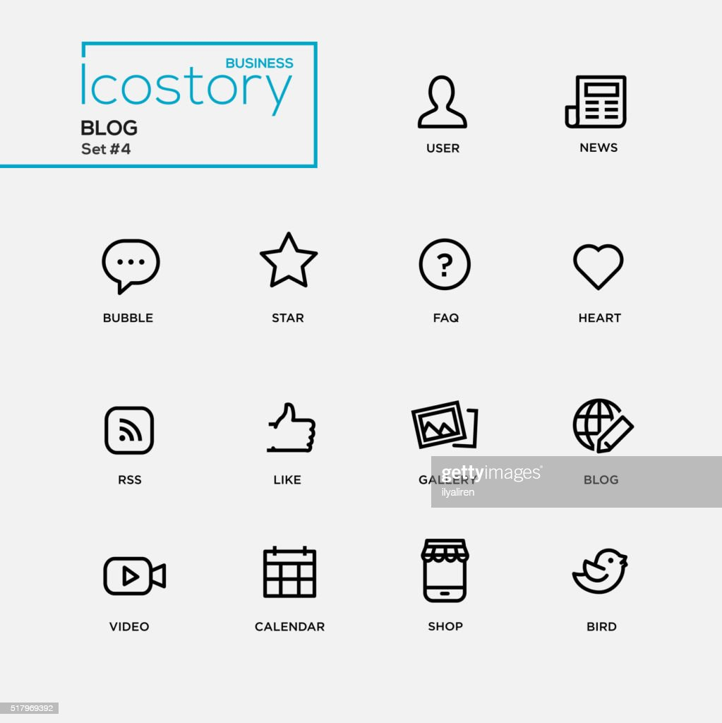 Modern blog simple thin line design icons, pictograms set