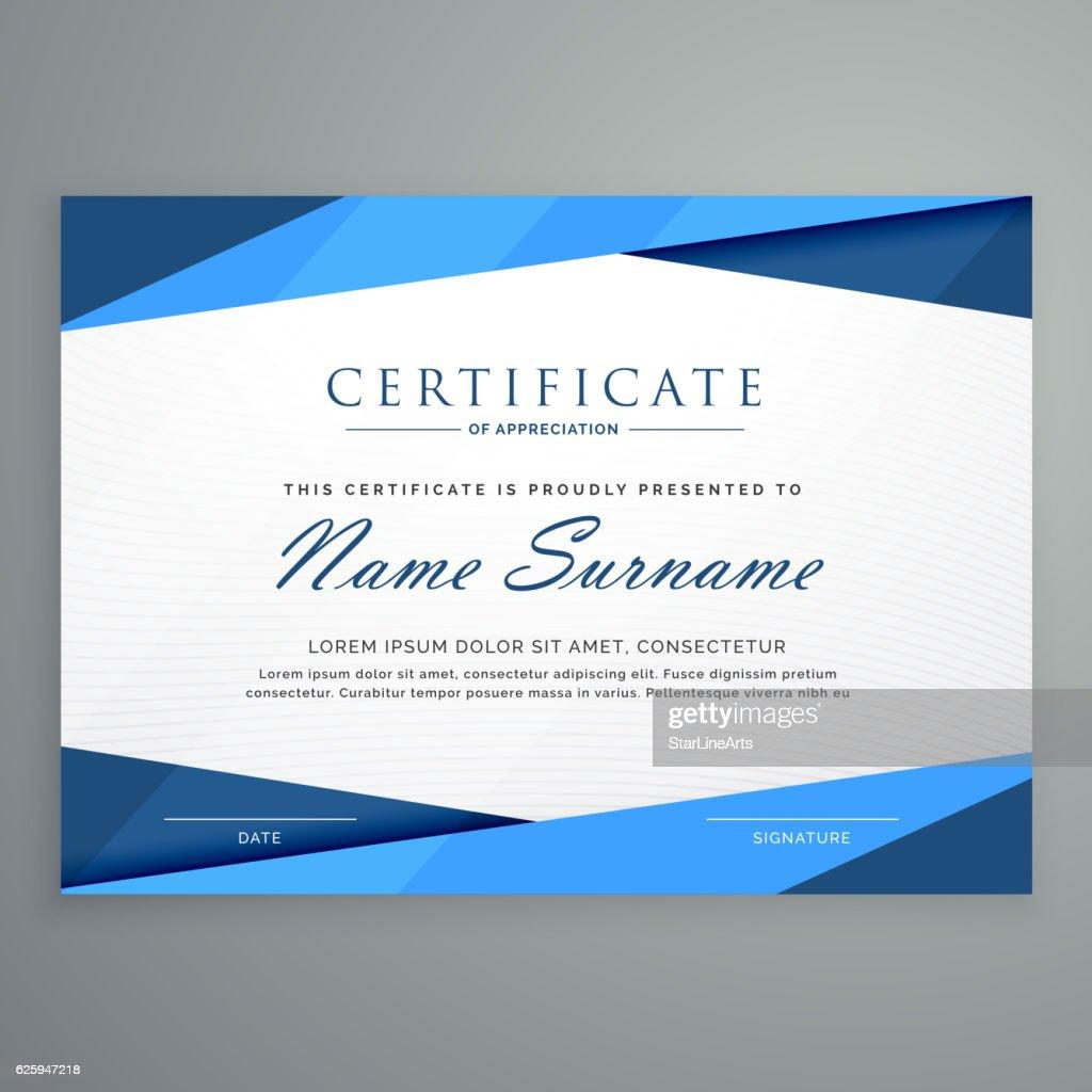modern blue triangle certificate template