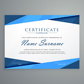 modern blue triangle certificate template