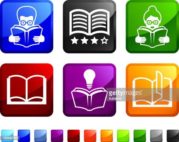 Modern livros e royalty-free da biblioteca vector ícone conjunto autocolantes