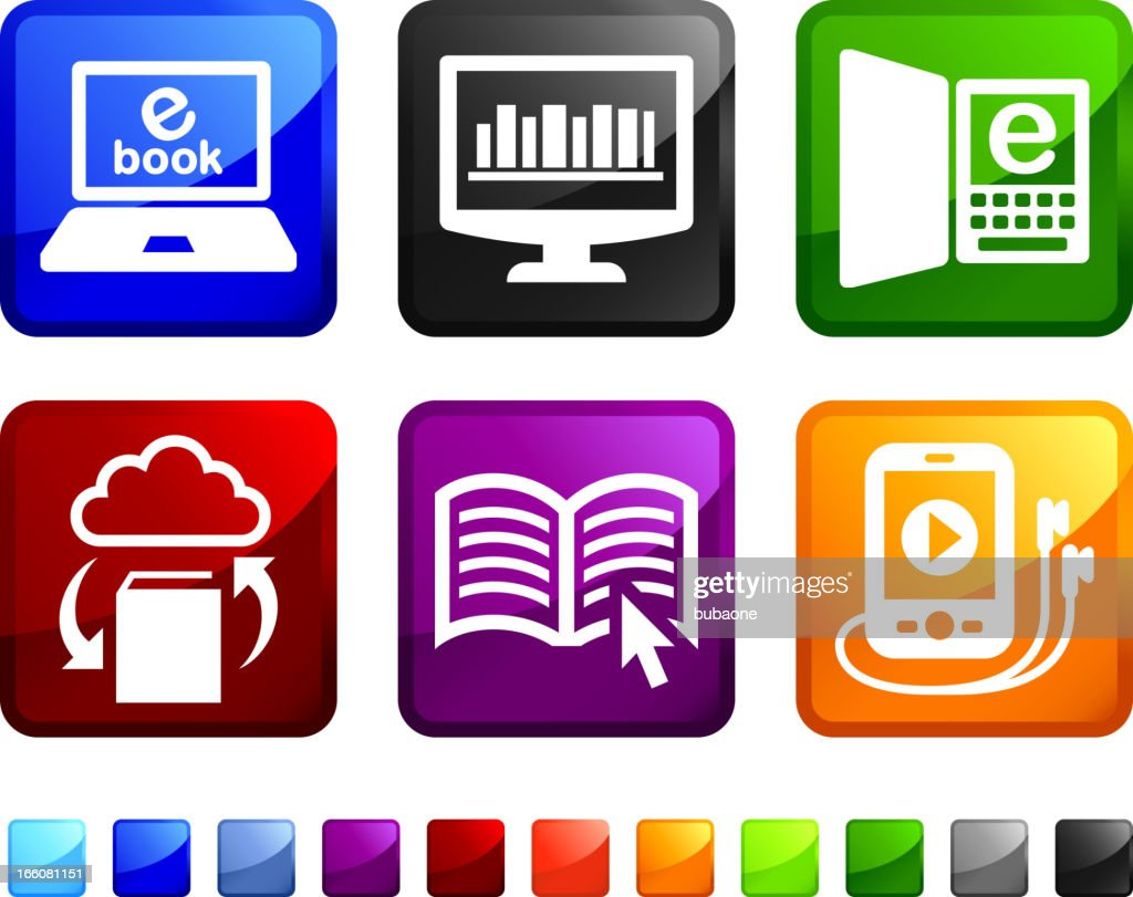 Modern Books royalty free vector icon set stickers : stock illustration