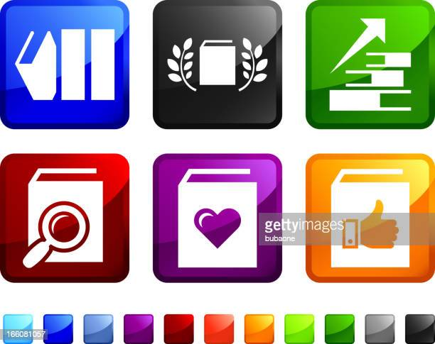 Modern Bookstore royalty free vector icon set stickers