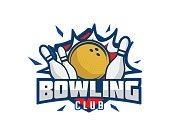 Modern Bowling Club Association Emblem Illustration