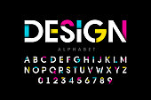 Modern bright style colorful font