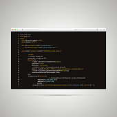 Modern browser with simple html code of web page on black background