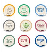 Modern bubble speech sticker collection
