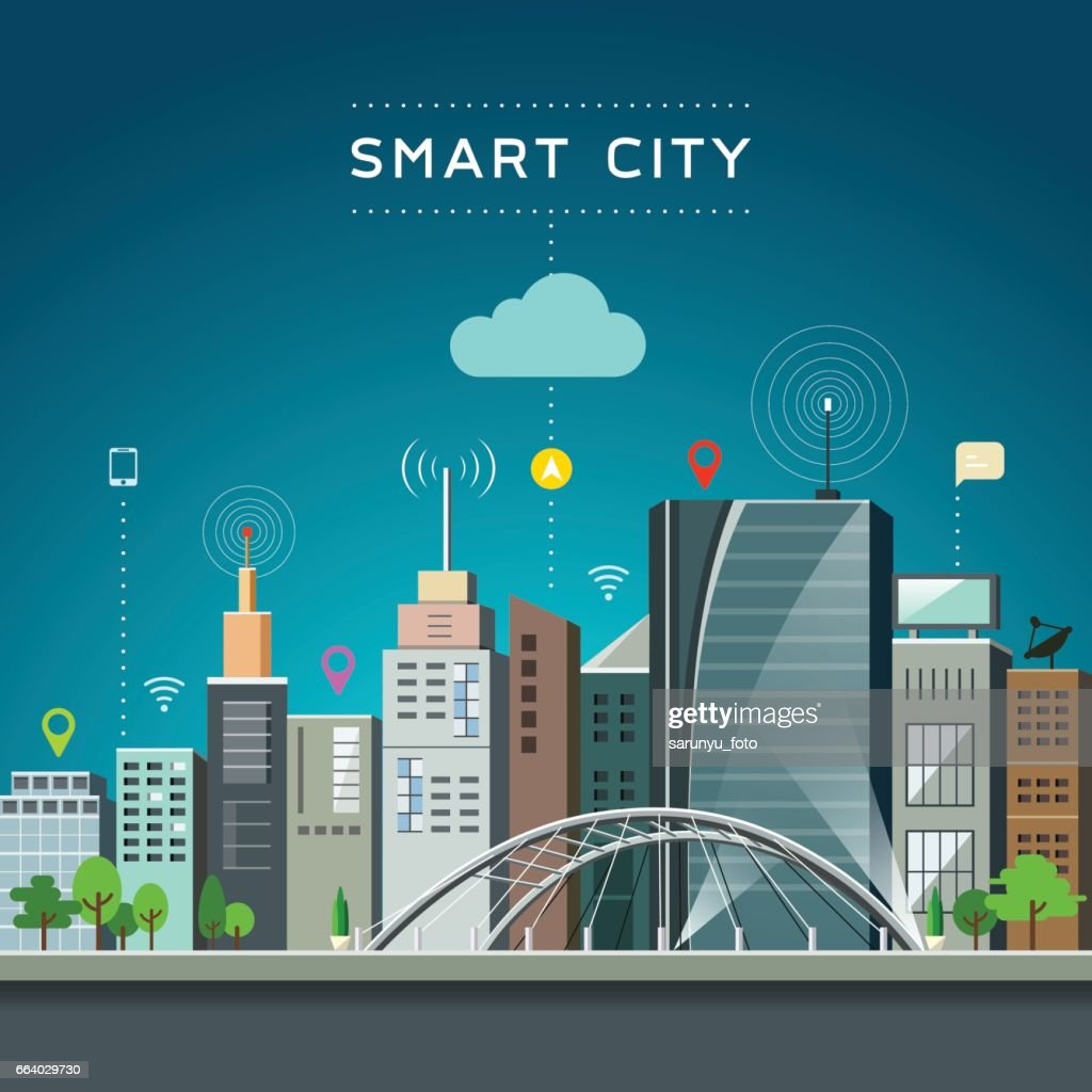 Modern building and landmark, smart city communications