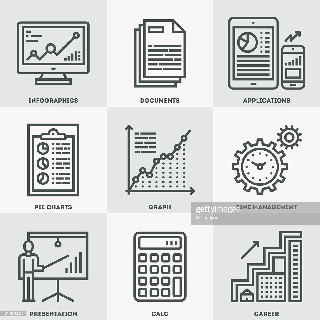 Modern Business Analysis and Finance Icon Set.