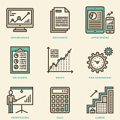Modern Business Analysis and Finance Vintage Icon Set.