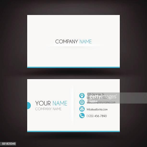 illustrazioni stock, clip art, cartoni animati e icone di tendenza di modello moderno business card - biglietto da visita