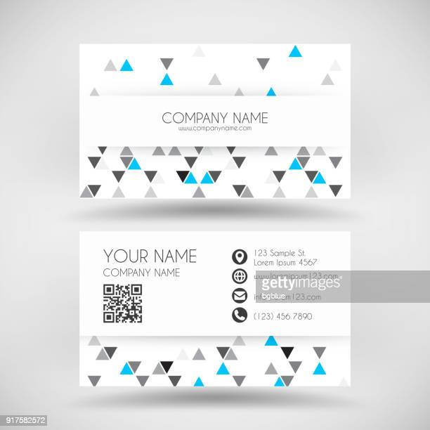 modern business card template with abstract geometric background - id card template stock illustrations