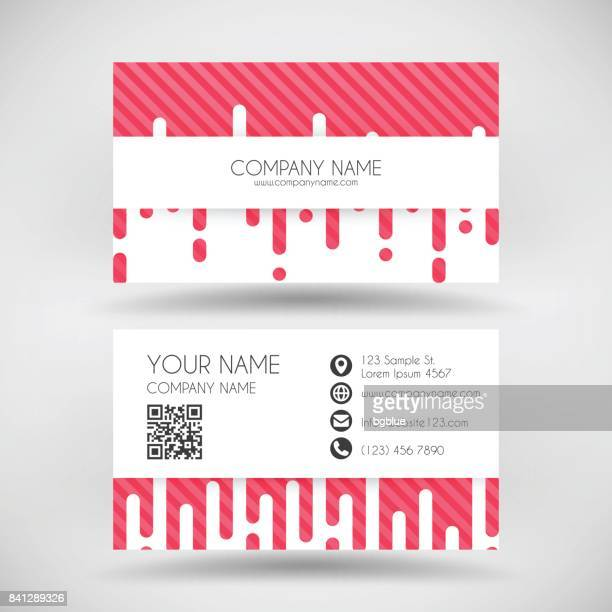 modern business card template with abstract red background - id card template stock illustrations