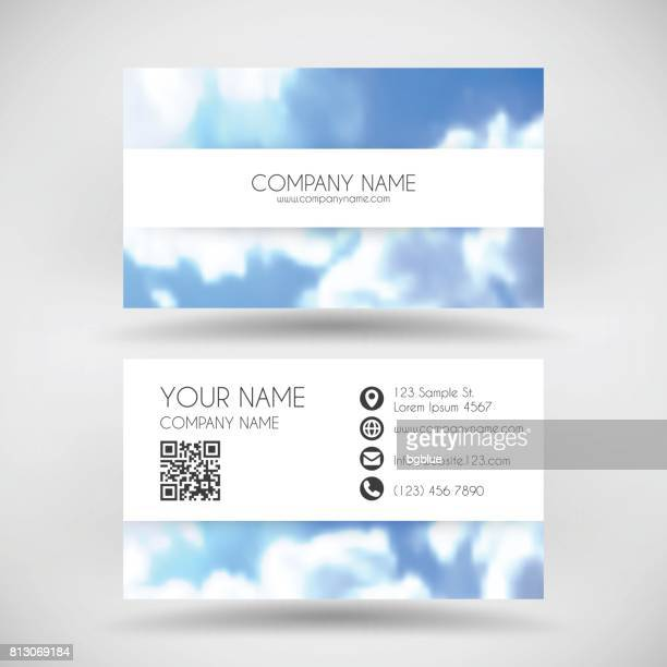 modern business card template with blue sky and clouds - id card template stock illustrations