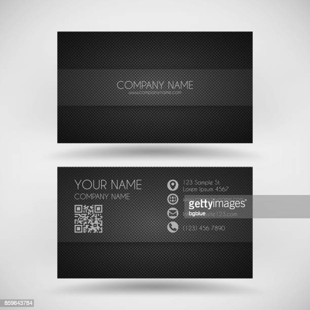 modern business card template with carbon fiber background - id card template stock illustrations
