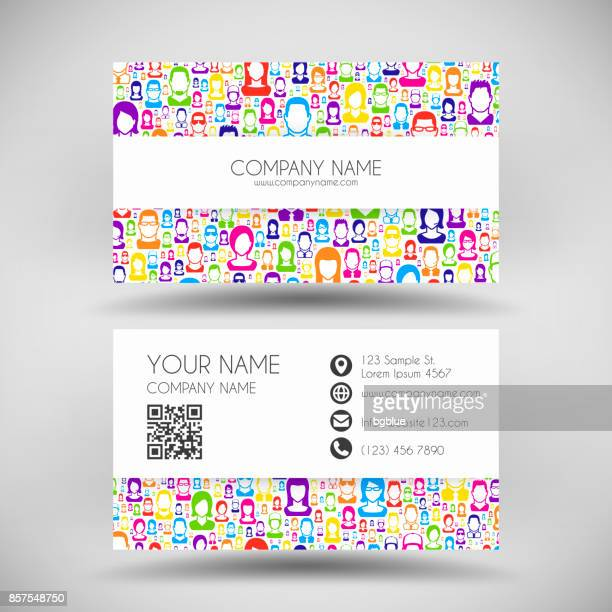 modern business card template with color people - id card template stock illustrations