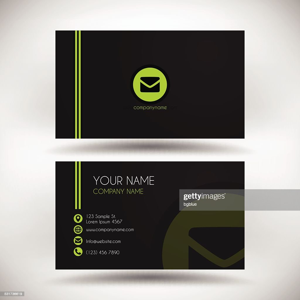 Modern business card template with green logo on black background modern business card template with green logo on black background vector art fbccfo Image collections