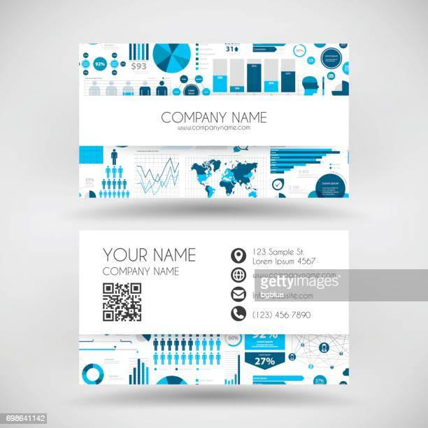 modern business card template with infographic background - id card template stock illustrations