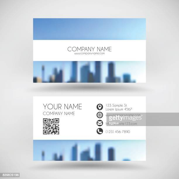modern business card template with view of skyscrapers - cityscape - id card template stock illustrations