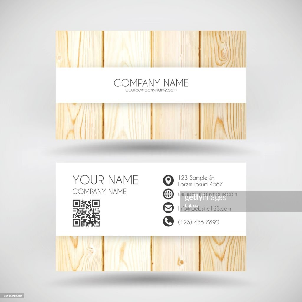 Modern business card template with wooden background vector art modern business card template with wooden background vector art reheart Gallery